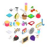Onderwijs van geplaatste kinderenpictogrammen, isometrische stijl royalty-vrije illustratie