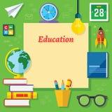 Onderwijs Vector Vlakke Elementen Royalty-vrije Stock Afbeelding
