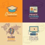 Onderwijs Vlakke Pictogrammen, graduatie GLB, leraar, bol met wereldkaart, online onderwijspictogram royalty-vrije illustratie