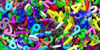 Onderwijs, wiskunde, berekeningsconcept De kleurrijke achtergrond van cijfersaantallen 3D Illustratie royalty-vrije illustratie