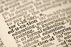 Onderwijs in woordenboek. stock fotografie