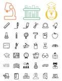 Onderwijs zwarte pictogrammen Royalty-vrije Stock Foto