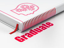 Onderwijsconcept: boekhoofd met Toestellen, Gediplomeerde op witte achtergrond Stock Foto's