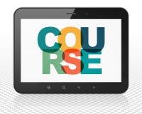 Onderwijsconcept: De Computer van tabletpc met Cursus op vertoning Stock Foto's