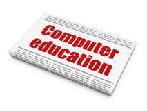 Onderwijsconcept: de Computeronderwijs van de krantenkrantekop Stock Foto