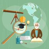 Onderwijsconcept de wetenschap van e-lerende professorsleraren Stock Foto