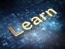 Onderwijsconcept: Gouden leer op digitaal Royalty-vrije Stock Foto