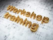 Onderwijsconcept: Gouden Workshop Opleiding op digitale achtergrond royalty-vrije illustratie