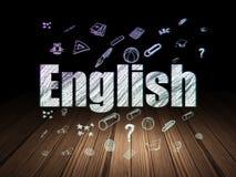 Onderwijsconcept: Het Engels in grunge donkere ruimte Royalty-vrije Stock Foto