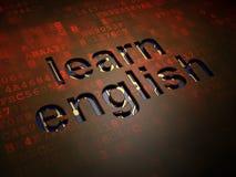Onderwijsconcept: Leer het Engels op digitale het schermachtergrond Stock Afbeeldingen