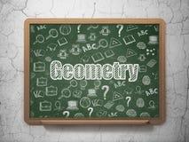 Onderwijsconcept: Meetkunde op de achtergrond van de Schoolraad Stock Afbeeldingen