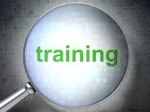 Onderwijsconcept: Opleiding met optisch glas Stock Afbeelding