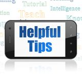 Onderwijsconcept: Smartphone met Nuttige Uiteinden op vertoning royalty-vrije illustratie