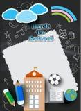 Onderwijsconcept, terug naar schoolbanner, vlakke pictogramstijl Stock Foto