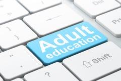 Onderwijsconcept: Volwassenenvorming op computer royalty-vrije illustratie