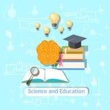 Onderwijsconcept: wetenschap, universiteit, vectorillustratie Stock Afbeeldingen