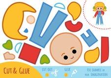 Onderwijsdocument spel voor kinderen, Meisje in overall stock illustratie
