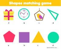 Onderwijskinderenspel De aanpassing van spelaantekenvel voor jonge geitjes Gelijke door vorm Leer geometrische vormen en cijfers vector illustratie