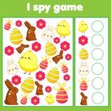 Onderwijskinderenspel Ik spioneer blad voor peuters Vind en tel Pasen activty voor jonge geitjes vector illustratie