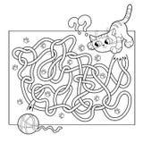 Onderwijslabyrint of Labyrintspel voor Peuterkinderen Raadsel Verwarde Weg Kleurend Paginaoverzicht van kat met bal van garen Stock Foto's