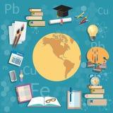 Onderwijsobjecten de internationale kaart van de opleidingsbol terug naar school Stock Afbeeldingen