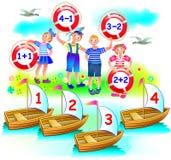 Onderwijspagina met oefeningen op toevoeging en aftrekking Behoefte om voorbeelden op te lossen Op welke boot elk kind zal varen? Royalty-vrije Stock Foto