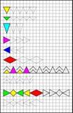 Onderwijspagina met oefeningen voor kinderen op een vierkant document Royalty-vrije Stock Afbeelding