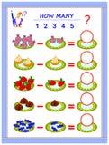 Onderwijspagina voor kinderen op aftrekking Los voorbeelden op, tel de hoeveelheid snoepjes en schrijf aantallen in cirkels vector illustratie