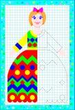 Onderwijspagina voor kinderen op een vierkant document Behoefte om het tweede deel van poppenkleding te trekken die de symmetrie  stock illustratie