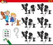 Onderwijsschaduwspel met jonge geitjes en honden stock illustratie