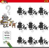 Onderwijsschaduwspel met robotkarakters royalty-vrije illustratie
