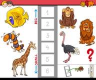 Onderwijsspel met grote en kleine dieren Royalty-vrije Stock Afbeelding