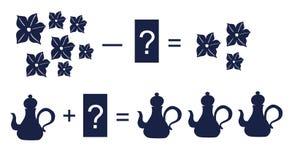 Onderwijsspel voor kinderen Beeldverhaalillustratie van wiskundige toevoeging en aftrekking royalty-vrije illustratie