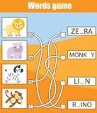 Onderwijsspel voor kinderen Word labyrintactiviteit Het leren het thema van woordenschatdieren vector illustratie