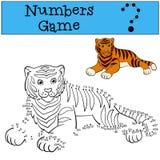 Onderwijsspelen voor jonge geitjes: Aantallenspel Leuke tijgerglimlachen Stock Afbeelding