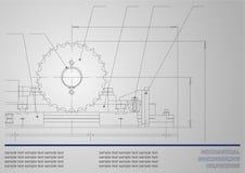 Onderworpen vectorachtergrond Draaibank in workshop Royalty-vrije Stock Afbeeldingen