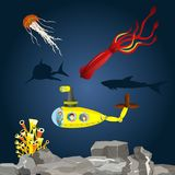 Onderzeeër met jonge geitjes in Onderwater Stock Foto