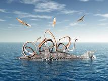 Onderzeeër met Octopus en vliegende Dinosaurussen Royalty-vrije Stock Afbeelding
