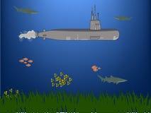 Onderzeeër onder water Stock Afbeelding