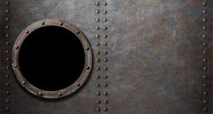 Onderzeeër of slagschip de achtergrond van het patrijspoortmetaal Royalty-vrije Stock Foto's