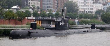 Onderzeeër u-434 in de haven van Hamburg Stock Foto