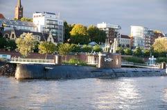 Onderzeeër u-434 in de haven van Hamburg Stock Fotografie