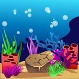 onderzees Marine Life Landscape - de oceaan stock illustratie