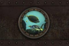 Onderzeese gepantserde patrijspoort Stock Foto