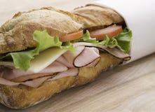 Onderzeese sandwich op hout stock foto
