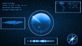Onderzeese Sonar met doel op kaart HUD die plaats tonen, landsc royalty-vrije illustratie