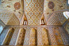 Onderzoek Ali Qapu-paleisbinnenland, Isphahan, Iran royalty-vrije stock foto's