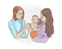 onderzoek door een pediater Het Bezoek van de arts A stock illustratie