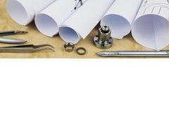 Onderzoek en ontwikkelingsproces in techniek en wetenschap Royalty-vrije Stock Foto's