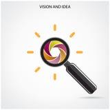 Onderzoek en visiesymbool, bedrijfsideeën Royalty-vrije Stock Foto